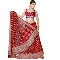 Red Pure Georgette Lehenga Choli with Dupatta