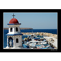 summer greece boats church landscape