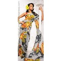Off White Faux Crepe Saree with Blouse