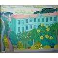 downtown houses flowers painting