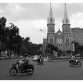 saigon vietnam scooters church mary city traffic urban