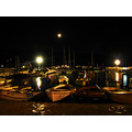 night peer boats light sea budva montenegro