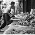food worker chinatown people bw nyc city street