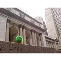 My boy's toy snake (grassy) outside a beautiful building in New York, the famous New York Public ...