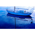 Yacht blue reflection boat water marina port river