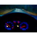 wheel gauges blue red road driving