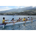 Va'a race today in the lagoon of Papeete (Tahiti); tree teams are competiting, all colleagues fro...