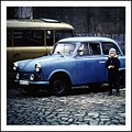 GDR Trabi history car girl blue communism