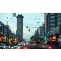 Robson Street Vancouver at dusk.