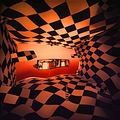 chess room orange black white surreal boxes flying abstract art fun keitology