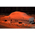 Police car under snowdrift night Moscow