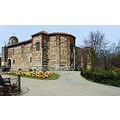 Colchester castle and pack garden in Spring ,a fantastic show of Colours in the pack gardens in t...