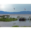 water grass kiteboarder people sailboat lake