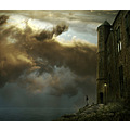 castle sea lantern collage photomontage fantasy rock cat sunset