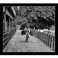 old man cycle bridge jhleum pakistan bw