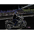 me theodora on the road with my bike ducati 2005 my shadow at night