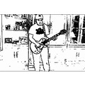cartoonish photo of our son jeremy jamming on his guitar