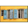 windows house France summer yellow blue shutters rusty