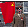 man guy people soviet russian military uniform red 1st may 1 flag USSR