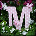 m pink polka dots letter butterfly