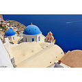 santorini churches architecture sea boat archer