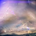 abstract surreal sky scape clouds dream art rain of hello kitty guns keitology