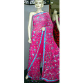Dark Pink Pure Georgette Saree with Blouse