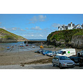 Cornwall PortIsaac UK Harbour Boat Moored Car Park Church Hill Beach Sea Coast