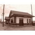 depot train_station landmark historical railroad trains relic sepia_tone closed