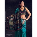 Aqua Blue Silk Saree with Blouse