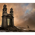 nightshelter church landscape montage horse cat fantasy winter sunlight