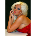 female blonde red corset model dreaming