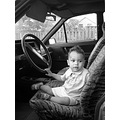 boy child car bw