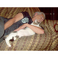 My dad sleeping with Pipoca, my cat :)