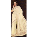 Cream Lazer Saree with Blouse