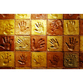 hand handprint wall brick brown yellow imprint eden cornwall