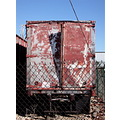truck semi trailer chainlink fence rust red