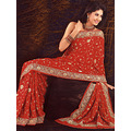 Tomato Red Lazer Saree with Blouse