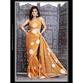 Light Orange Faux Georgette Saree with Blouse