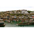 8649 Manipulated Cornwall Mevagissey UK Harbour Sea Coast Boat Moored