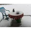 terrace winter snow table chair