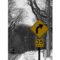 streetsign road street snow arrow