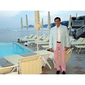 selfportrait Italy pink sea view seascape pool pose