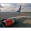 plane sas scandinavian airline wing engine jet boeing 737 airplane