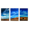 sky clouds hill blue panorama triptych