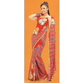 Tomato Red Georgette Saree with Blouse