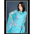 Sky Blue Crepe Saree with Blouse