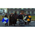Vikings in Iceland in front of the parliament building in Reykjavik