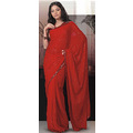 Deep Red Faux Georgette Saree with Blouse
