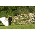 bride groom wedding white dress garden grass green